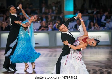 Moscow, Russia - Apr 26, 2015: Unidentified couples perform at the ballroom dance event at the 2015 Open European Professional Latin-American Championship.
