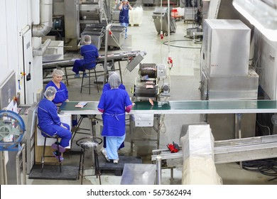 MOSCOW, RUSSIA - APR 28, 2016: (top view) Women workers near production line in Fish-packing Factory Marine Castle