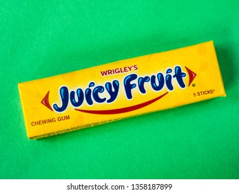 MOSCOW, RUSSIA - APRIL 01, 2019: Juicy Fruit Spearmint chewing gum made by Wrigley