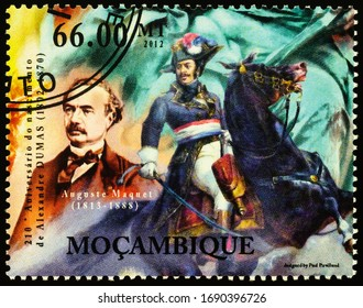 Moscow, Russia - April 01, 2020: stamp printed in Mozambique shows portrait of Auguste Maquet (1813-1888), French writer, co-author, chief collaborator of Alexandre Dumas, circa 2012