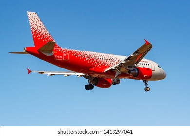 Moscow, Russia - April 03, 2019: Aircraft Airbus A319-111 EI-EYL of Rossiya - Russian Airlines going to landing against blue sky at Vnukovo international airport in Moscow at sunny day