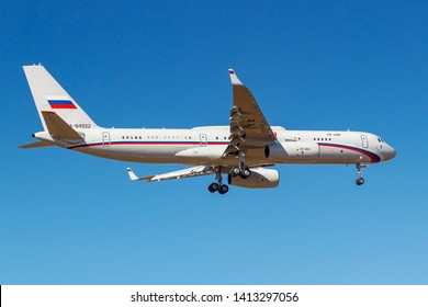 Moscow, Russia - April 03, 2019: Aircraft Tupolev Tu-214VPU RA-64517 of Rossiya - Special Flight Detachment going to landing against blue sky at Vnukovo international airport in Moscow at sunny day