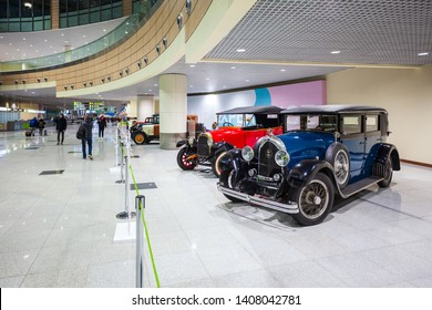 MOSCOW, RUSSIA - APRIL 06, 2019: Lorraine-Dietrich and Fiat Valencia 505 vintage cars at the free of charge exhibition at the Moscow Domodedovo Airport