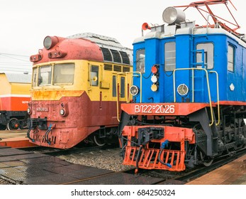 MOSCOW, RUSSIA - APRIL 07, 2017: Soviet vintage electric train in steampunk style at the exhibition of railway transport in Moscow