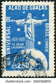 MOSCOW, RUSSIA - APRIL 07, 2018: A stamp printed in Brazil shows Corcovado Christ Globe and Southern Cross, Universal Thanksgiving Day, 1959