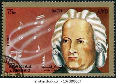 MOSCOW, RUSSIA - APRIL 07, 2018: A stamp printed in Shiarjah & Dependencies shows Johann Sebastian Bach (1685-1750), 1972