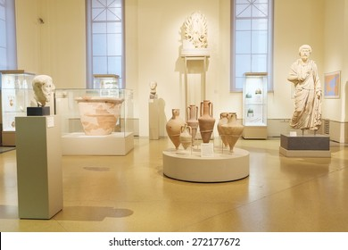 MOSCOW, RUSSIA  -  APRIL 08, 2015: Pushkin Museum - one of the largest and most significant Russian museums of European and world art. Empty exhibition hall with ancient Greek artifacts