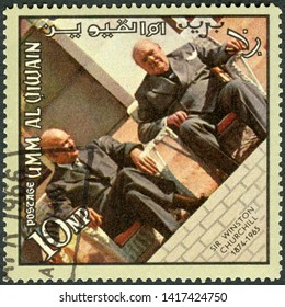 MOSCOW, RUSSIA - APRIL 09, 2019: A stamp printed in Umm al-Quwain shows Sir Winston Leonard Spencer Churchill (1874-1965) and Dwight D. Eisenhower (1890-1969), memoreal state funeral, 1965
