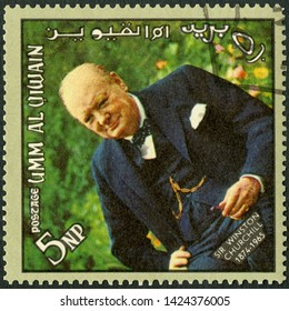 MOSCOW, RUSSIA - APRIL 09, 2019: A stamp printed in Umm al-Quwain shows Sir Winston Leonard Spencer Churchill (1874-1965), memoreal state funeral, 1965