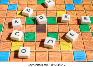 Moscow, Russia - April 09, 2020: Scrabble game letters scattered on the game field
