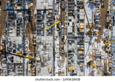 Moscow / Russia - April 1 2020: construction works on the new hospital for COVID-19 infected. Started at march, 15, this hospital should be completed this week.