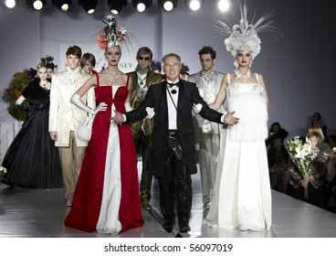 MOSCOW, RUSSIA - APRIL 1: Show of Slava Zaitsev collection during Russian Fashion Week in April 2010 in Moscow, Russia.