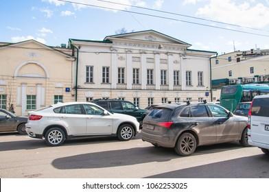 Moscow, Russia - April 10, 2015: Restaurant complex Gusyatnikoff, Alexander Solzhenitsyn street, 2A. Former city estate XVIII-XIX centuries
