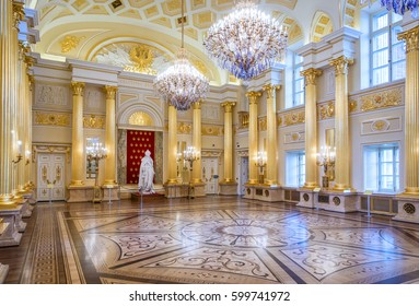 MOSCOW, RUSSIA - APRIL 10, 2015: Interior of restored Tsaritsyno Palace in Moscow. The palace was originally built for Catherine The Great