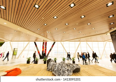 MOSCOW, RUSSIA - APRIL 10, 2016: Spacious modern recreation area with poofs in the shopping center Mega Belaya Dacha in Moscow.