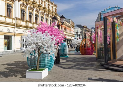 Moscow, Russia - April 10, 2018: Easter Festival in Moscow (held as part of the Moscow Seasons program). Holiday decorations on the street Kuznetsky Most.