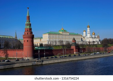 Moscow, Russia, April 11, 2014. On a sunny spring day, a view of the embankment near the walls of the Moscow Kremlin