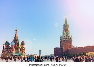 Moscow, Russia - April 11, 2018: Tourists walkin on Red Square in Moscow