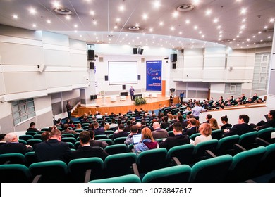 Moscow, Russia - April, 11, 2018: Audience listens to the acting in a conference hall