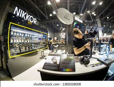 MOSCOW, RUSSIA - APRIL 11, 2019: Booth of Nikon company at PhotoForum 2019 trade show and exhibition in Moscow, Russia on April 11, 2019.