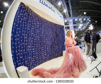 MOSCOW, RUSSIA - APRIL 11, 2019: Booth Zenit of Shvabe company at PhotoForum 2019 trade show and exhibition in Moscow, Russia on April 11, 2019.