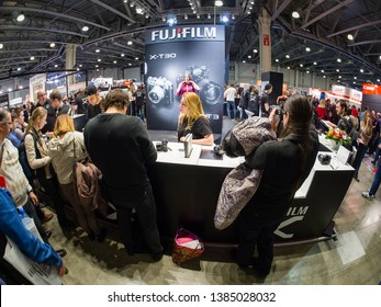 MOSCOW, RUSSIA - APRIL 11, 2019: Booth of Fujifilm company at PhotoForum 2019 trade show and exhibition in Moscow, Russia on April 11, 2019.