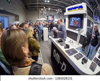MOSCOW, RUSSIA - APRIL 11, 2019: Booth of Olympus company at PhotoForum 2019 trade show and exhibition in Moscow, Russia on April 11, 2019.