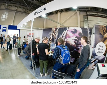 MOSCOW, RUSSIA - APRIL 11, 2019: Booth of Wacom company at PhotoForum 2019 trade show and exhibition in Moscow, Russia on April 11, 2019.