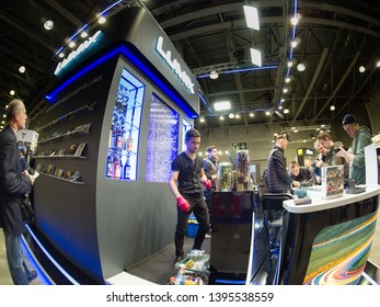 MOSCOW, RUSSIA - APRIL 11, 2019: Booth of Panasonic company at PhotoForum 2019 trade show and exhibition in Moscow, Russia on April 11, 2019.