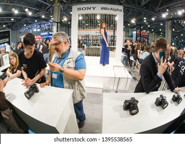 MOSCOW, RUSSIA - APRIL 11, 2019: Booth of Sony company at PhotoForum 2019 trade show and exhibition in Moscow, Russia on April 11, 2019.