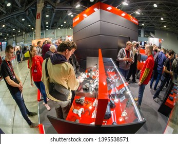 MOSCOW, RUSSIA - APRIL 11, 2019: Booth of Canon company at PhotoForum 2019 trade show and exhibition in Moscow, Russia on April 11, 2019.