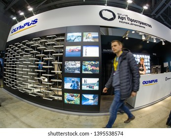 MOSCOW, RUSSIA - APRIL 11, 2019: Art Space booth of Olympus company at PhotoForum 2019 trade show and exhibition in Moscow, Russia on April 11, 2019.