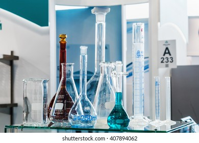 MOSCOW, RUSSIA - April 12, 2016: The 14th International Exhibition of laboratory equipment and chemical reagents in Moscow. Medical and laboratory equipment at the exhibition
