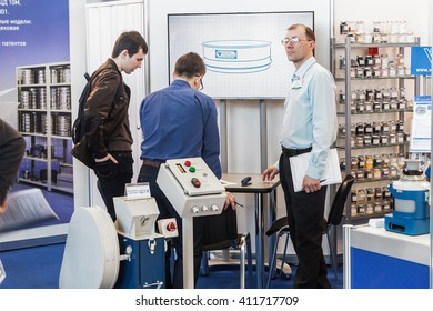 MOSCOW, RUSSIA - April 12, 2016: The 14th International Exhibition of laboratory equipment and chemical reagents in Moscow. Medical and laboratory equipment at the exhibition.