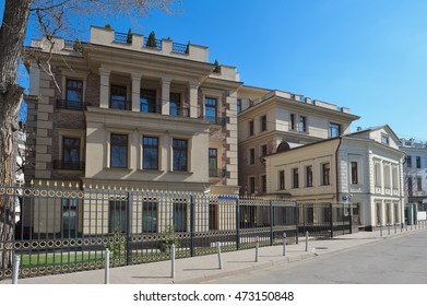 Moscow, Russia - April 12, 2016: Modern luxury real estate, club house, 2nd Zachatievsky Pereulok 11, designed in the style of neoclassicism