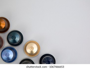 MOSCOW, RUSSIA - APRIL 12, 2018: Top View Nespresso Coffee Capsules Isolated on Grey Background Natural Light Selective Focus