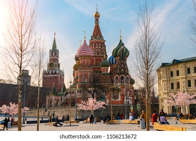 Moscow, Russia - April 12, 2018: View of the Red Square with Vasilevsky descent in Moscow, Russia