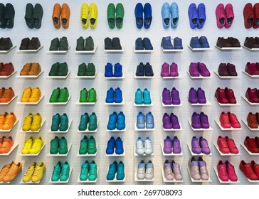 MOSCOW, RUSSIA - APRIL 12: Adidas Originals shoes in a shoe store in Moscow April 12, 2015. Adidas, the German industrial group specializing in the production of sports shoes, clothing and equipment