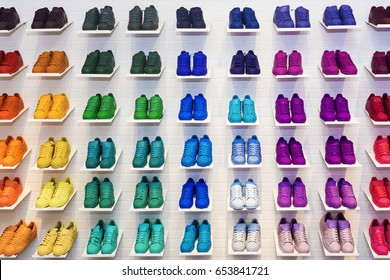 MOSCOW, RUSSIA - APRIL 12,2015: Adidas Originals shoes in a shoe store in Moscow. Adidas, a German industrial group specializing in the manufacture of sports shoes, clothing and equipment