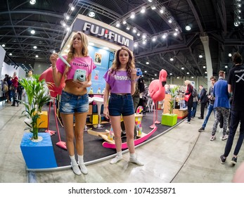 MOSCOW, RUSSIA - APRIL 13, 2018: Booth of Fujifilm company at PhotoForum 2018 trade show and exhibition in Moscow, Russia on April 13, 2018.
