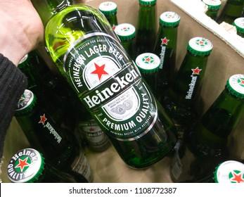 Moscow, Russia - April 13, 2018: Heineken beer global brand. Heineken Lager Beer is the flagship product of Heineken