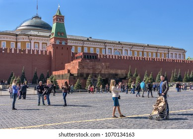 Moscow, Russia - April 14, 2018. Mausoleum of Lenin on Red Square in Moscow