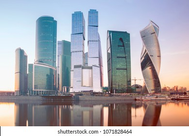 MOSCOW, RUSSIA - APRIL 14, 2018 Evening view of the Moscow City