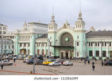 MOSCOW, RUSSIA - APRIL 15, 2015: Overcast April morning at the Belorussky railway station
