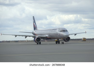 MOSCOW, RUSSIA - APRIL 15, 2015: Airbus A320 Aeroflot on a taxiway. Sheremetyevo international airport