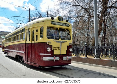 Moscow, Russia, April, 15, 2017. Tram MT-82 No 1278 with the plate 18 of the route on Chistoprudny Boulevard in Moscow