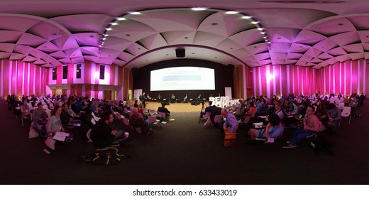 Moscow, Russia - April 15, 2017: People attend Velocongress at Tekhnopolis Hall. 360 vr panorama