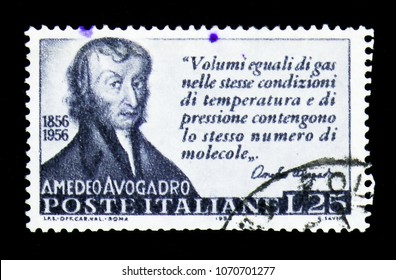 MOSCOW, RUSSIA - APRIL 15, 2018: A stamp printed in Italy shows Amedeo Avogadro, Centenary of the death of Amedeo Avogadro serie, circa 1956