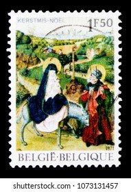 MOSCOW, RUSSIA - APRIL 15, 2018: A stamp printed in Belgium shows Christman 1971 - Flight into Egypt, serie, circa 1971