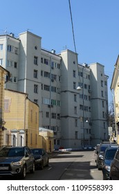 Moscow, Russia - April 15, 2018: House-commune at Gogolevsky Boulevard (Bolshoy Znamensky sidestreet 9). Main architect Moisei Ginzburg (1929-1932). Boris Pasternak lived here.